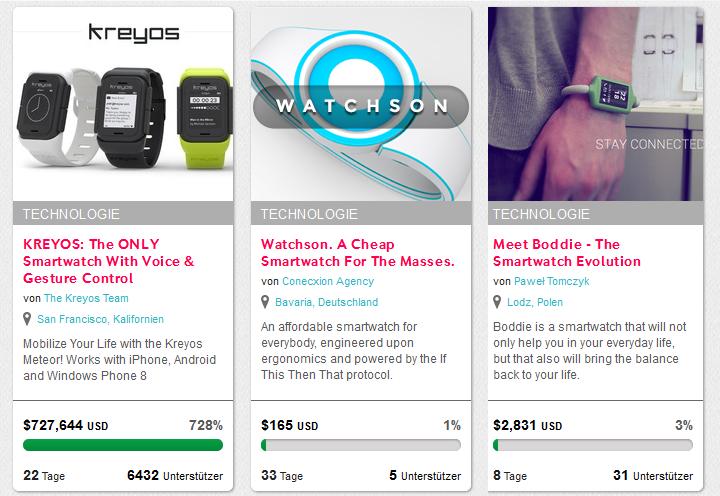 Aktuell bei der Plattform indiegogo: Kreyos Meteor, Watchson und die Meet Boddie