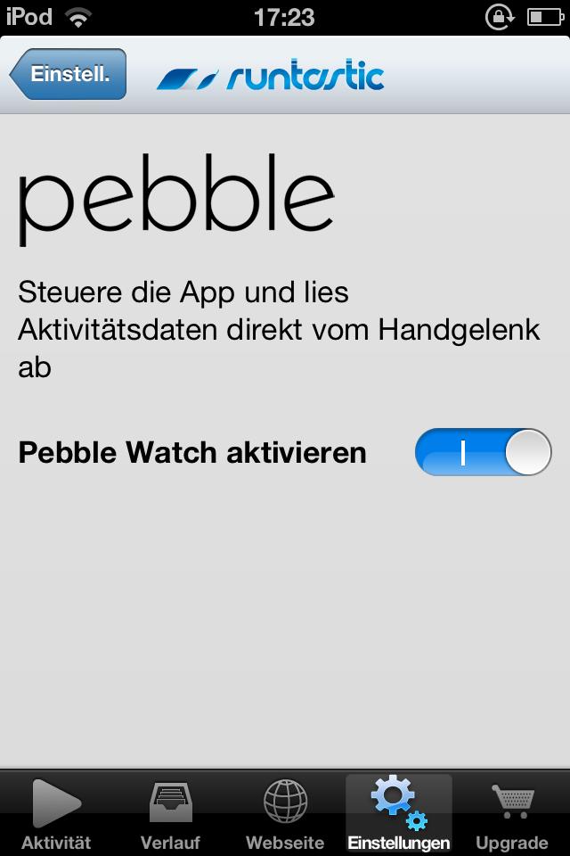 Einstellung der Pebble in der Runtastic App